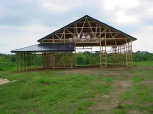 Front view of post frame building