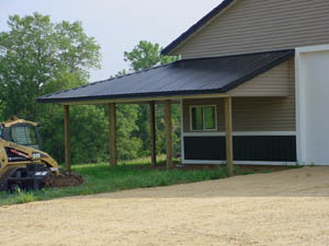 Pole Building Structure With Siding Lean To Or Carport View Of