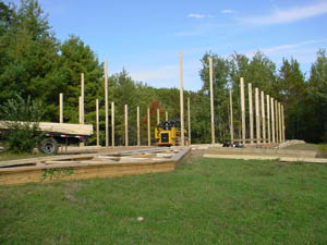 Setting posts for pole shed