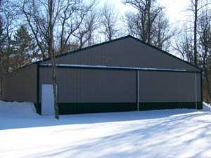 Wide pole barn with sliding door
